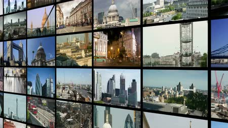 коммерция : a collection of Screens showing different videos and timelapses from all over london. all the content is my own work Стоковые видеозаписи