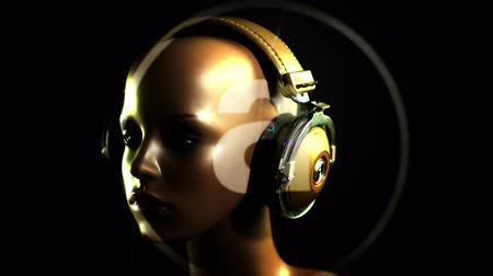 bas : unique stop motion clip a fashion mannequin head wearing retro headphones