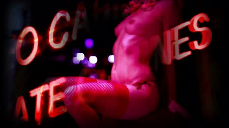 эротический : Sexy erotic female in a hotel room, with overlayed erotic neon graphics