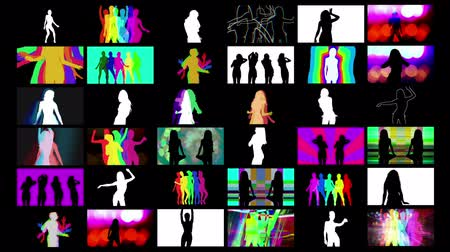 striptérka : A video wall of HD screens made up from different shadow disco style dancers. All content is from my own collection