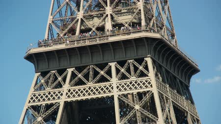 The Eiffel tower in Paris shot from ground level