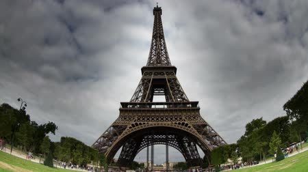Time lapse of the Eiffel tower in Paris, shot with a fish eye lens