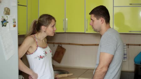 quarreling : woman screams and is angry with the man. Family quarrel. Stock Footage