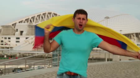 Колумбия : Male fan with the flag of Colombia. Стоковые видеозаписи