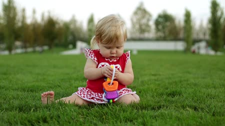 playful infant : A child in the park is playing on the green grass. Stock Footage