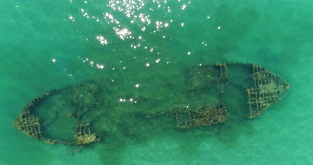 kittiwake : Sunken ship at the bottom of the sea. Aerial photography of the sea coast.