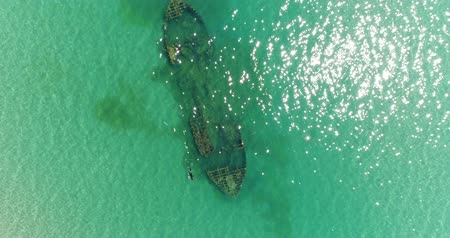 kittiwake : Aerial photography, a beautiful sunken ship in the sea.