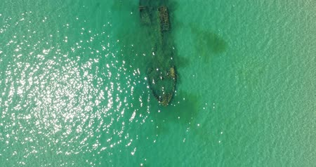 kittiwake : Aerial photography, a beautiful sunken ship on the seabed.