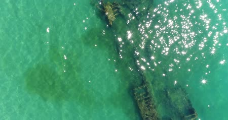 kittiwake : Aerial view, sunken ship at the bottom of the sea. Stock Footage