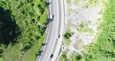 drive through : Aerial view: road, cars and green trees. Stock Footage
