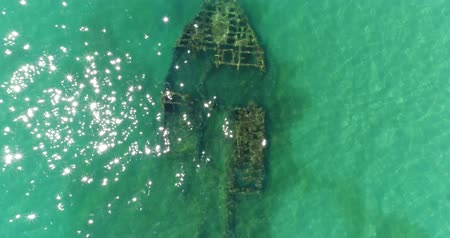 kittiwake : Aerial photography, a sunken ship in the sea. Stock Footage