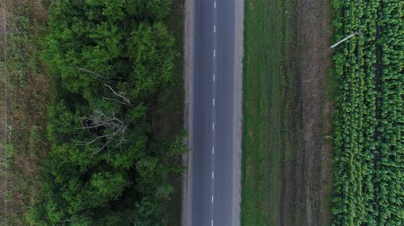 aerialphotography : Route, highway and road in the field. Aerial view - country road and cars.