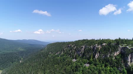 aerialphotography : Rocks, green forest and trees. Beautiful panorama of nature, top view.