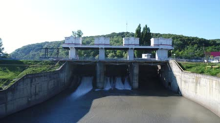 rosja : Aerial - Hydro power station.