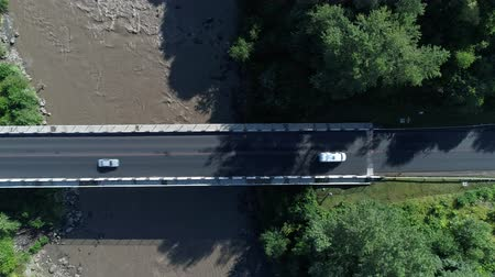 aerialphotography : Aerial view: bridge and river, highway. Stock Footage
