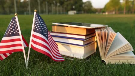 zahraniční : Education in the USA. American flag and books on the grass.