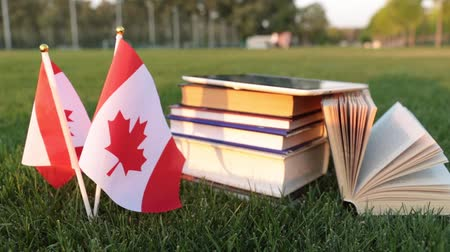 keménytáblás : Canadian flag and books on the grass. Education in Canada.