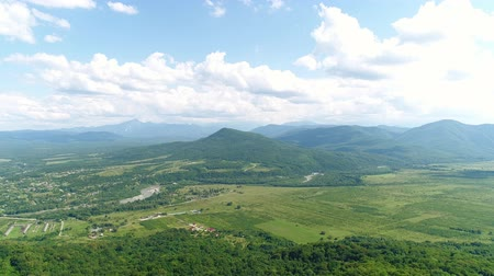 aerialphotography : beautiful nature, green valley, river and farm. Stock Footage