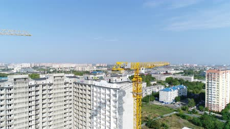 aerialphotography : Construction and Industry. Building crane, aerial view. Stock Footage