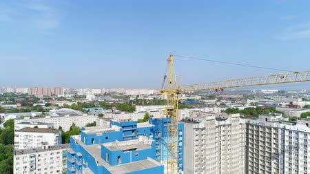 emel : City, building crane, aerial view. Construction and Industry.