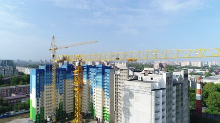 aerialphotography : Construction and Industry. City, building crane, aerial view. Stock Footage
