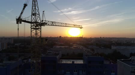 aerialphotography : Construction crane on sunset background. Stock Footage
