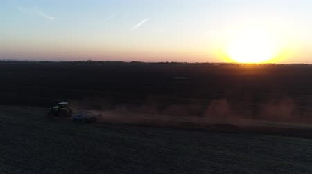 プラウ : The tractor is working in the field, sunset or sunrise. 動画素材