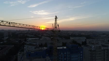aerialphotography : Construction crane on sunset background