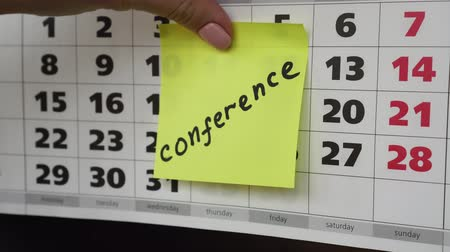 planlamacı : Conference, office calendar and sticker.