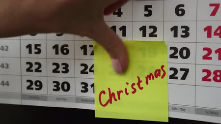 planlamacı : Christmas, the inscription on the calendar. Stok Video