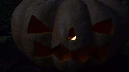 uğursuz : Sinister pumpkin on dark background. Symbol of the holiday Halloween. Stok Video