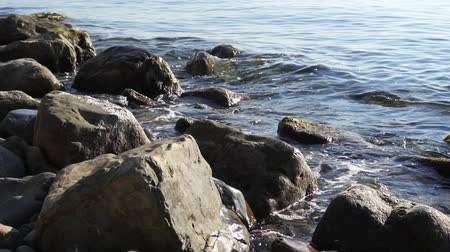 gale : Slow motion, sea, waves, beach and rocky shore. Stock Footage