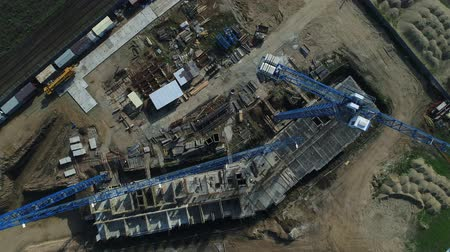 aerialphotography : The view from the air: construction site, crane, construction of the building.