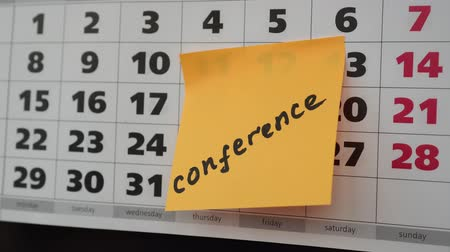 planlamacı : Office concept, conference, calendar and sticker. Stok Video