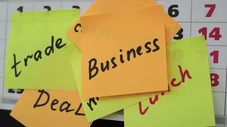 organisateur : Office calendar, colorful stickers, business inscription. Business concept.