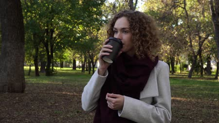 takeaway : Young beautiful woman is drinking coffee or tea in the autumn park.