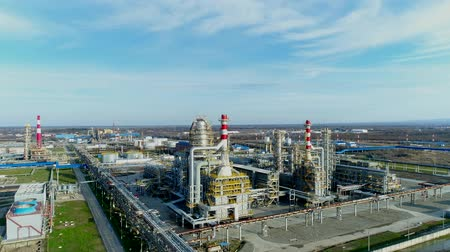 нефтехимический : Aerial - Oil refinery. Industry, energy, refinery. Стоковые видеозаписи