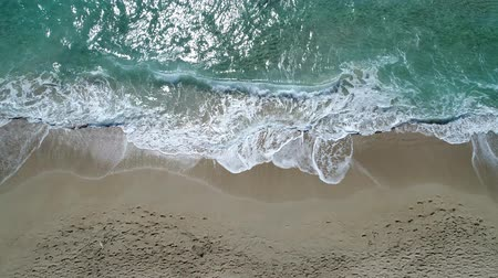 crete : Beautiful sandy beach, sea waves, the ocean, aerial view.