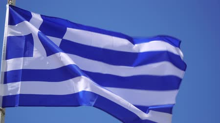 greece flag : Greek flag close-up, the Greek flag swaying against the sky.