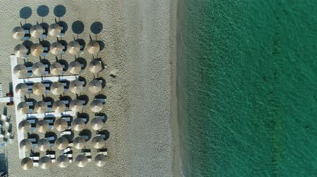 akuamarin : Beautiful clean sea and sandy beach without people. Aerial video of the beach. Stok Video