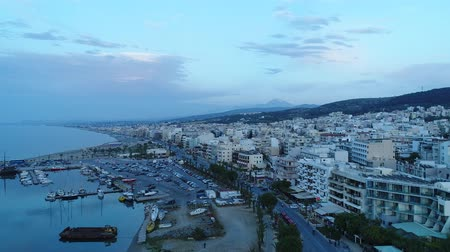 grece : Seaside European city in the evening, the sea and the house, the air view.