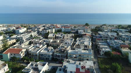 hırvatistan : Aerial view: a beautiful European city near the sea. Tiled roofs. Stok Video