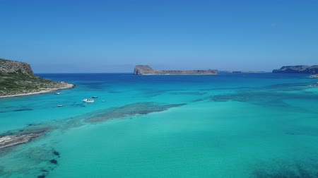 crete : Greece, Crete, Balos bay. Beautiful sandy beach and clear sea, aerial view. Stock Footage