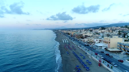 크레타 섬 : Aerial panorama of the city, the sea and the promenade, Greece, Crete. 무비클립
