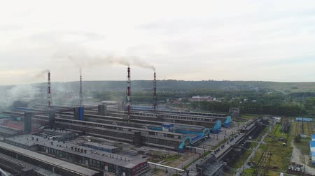 aluminium : Metallurgical plant, factory, aerial view. Ecological pollution.