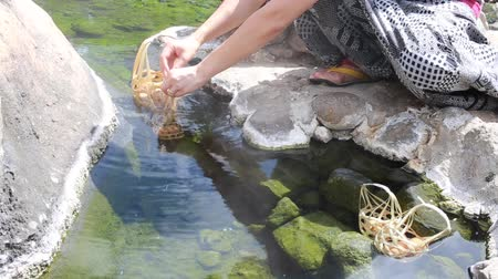 bamboo basket : Women are making eggs onsen on natural hot fountain in Lampang province. Hot water from underground in Thailand.
