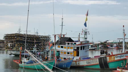 industrial fishing : Prachuap Khiri Khan, THAILAND June 19,2018 : The Thai trawler fishing boat are sailing offshore. To catch fish, on June 19,2018 in Prachuap Khiri Khan province, Thailand.