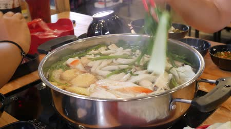 induction cooker : Shabu suki hot pot Stock Footage