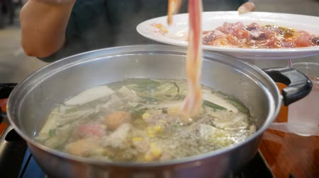 shrimp : Delicious and healthy hot pot cuisine. Stock Footage