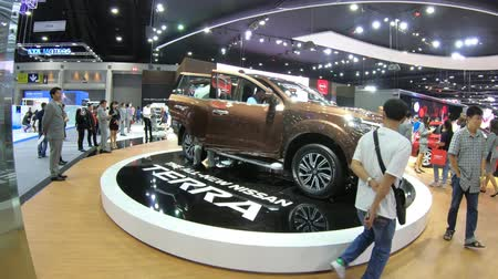 старомодный : Bangkok, Thailand - December,10  2018 : People visit new car model at Thailand International Motor Expo 2018 MOTOR EXPO 2018 on Dec 10,2018 in Bangkok, Thailand